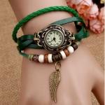 นาฬิกาข้อมือ ผู้หญิง สายหนังถัก สไตล์สร้อยข้อมือ วินเทจ สีเขียว ธรรมชาติ หน้าปัดกลม งาน handmade ห้อยจี้ รูปปีกนก สุดเท่ no 520286_4