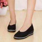 รองเท้าหุ้มส้น สีดำ แบบเรียบร้อย ใส่ไปงาน แบบสวย ดูดี มีสไตล์ รองเท้าหนัง ผสม ผ้าแคนวาส ส้นแบน ใส่เที่ยว ใส่ออกงาน ทำงาน 49941_1