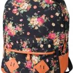 กระเป๋าเป้ สะพายหลัง ใส่เสื้อผ้า ใส่หนังสือไปเรียน ลายดอกไม้ หวาน ๆ สาวคิกขุ สไตล์ญึ่ปุ่น ผ้า Canvas สีดำ no 2783519_1