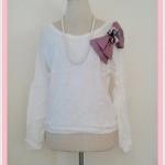 **สินค้าหมด blouse1665 เสื้อกันหนาวแฟชั่นไซส์ใหญ่ผ้าหนานุ่ม แขนยาว เอวจัมพ์ แต่งโบว์ดอกไม้ช่วงบ่า สีขาว อก 40 นิ้ว
