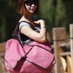 กระเป๋าเดินทาง กระเป๋าใส่เสื้อผ้า เที่ยวต่างจังหวัด เที่ยวชายทะเล ทรงถุง เย็บหนังรอบ เพิ่มความหรูหรา ทนทาน สีชมพู สาวหวาน 279580_4