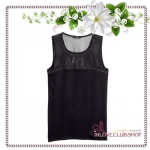 H&M / Top with Chiffon Yoke (Size S /#Black)