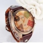 นาฬิกาข้อมือผู้หญิง นาฬิกาข้อมือ ผู้ชาย ใส่ได้ สายหนังแท้ สีน้ำตาล หน้าปัดใหญ่ แบบ คลาสสิค แฟชั่ยุโรป แบบเก๋ ออกแบบ หน้าปัด ซ้อน ด้านใน ของขวัญ สุดฮิต 336994