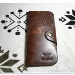 กระเป๋าสตางค์หนังแท้ Armani สีน้ำตาล 2 พับ ใบยาว A007