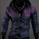 เสื้อ แจ็คเก็ต ผู้ชาย แบบ มีฮู้ด Jacket แบบ เท่ ๆ สีม่วง สลับ กรมท่า ใส่กันลม กันแดด ผ้า Poly ผสม กันน้ำ ดีไซน์ 2 สี เสื้อนอก แบบซิปหน้า 824051_2