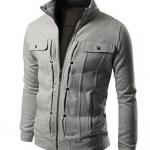 เสื้อ แจ็คเก็ต ผู้ชาย เสื้อแขนยาว เสื้อคลุม สีเทา อ่อน ผ้าคอตต้อน ดีไซน์ ตีลายเส้น กระดุมหลอก มีกระเป๋า บนหน้า 2 ข้าง เสื้อ Jacket ซิปหน้า แบบสวย 833858_2