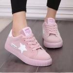 รองเท้าผ้าใบ ผู้หญิง รองเท้า วัยรุ่น รองเท้าหุ้มส้น สีชมพู หวาน ๆ แต่ง รูปดาว ที่รองเท้า รองเท้าใส่เล่นกีฬา ใส่เที่ยว แนวสปอร์ต น่ารักสุด ๆ 131001_2