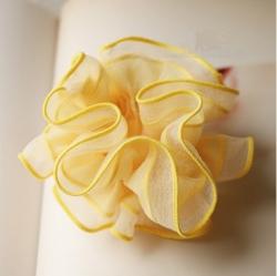 โดนัทรัดผมสไตล์ญี่ปุ่นผ้าชีฟองสีเหลืองแต่งระบาย