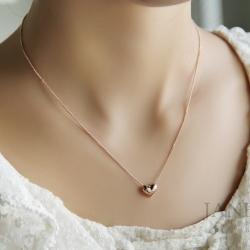 สร้อยคอชุบทองพิงค์โกลด์14Kจี้รูปหัวใจ