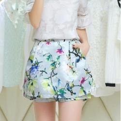 Skirt337 กางเกงกระโปรงลายดอกไม้ซิปหลังเอวยางยืด มีกระเป๋าข้างมีซับในผ้าซาตินซิลค์เนื้อดีหนาเรียบสวย งานน่ารักแมทช์กับเสื้อสไตล์ไหนก็เริด