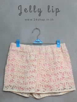กางเกงขาสั้นผ้าแก้วปักลายดอกไม้ ไซส์ L