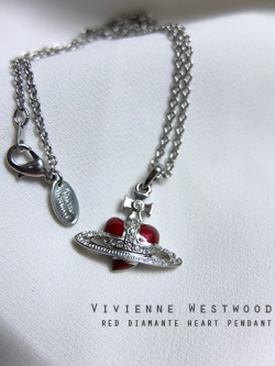 สร้อยคอ Vivienne Westwood Red Diamante Heart Pendant