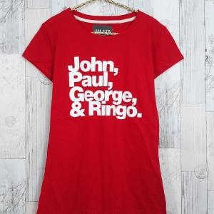 blouse3383 เสื้อยืดแฟชั่น สกรีนลายตัวอักษร ผ้าคอตตอนยืดเนื้อนิ่มสีพื้นแดง