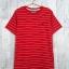 blouse3377-1 เสื้อยืดแฟชั่น อกปักรูปนกสไตล์ CC-OO ผ้าคอตตอนยืดเนื้อนิ่มลายริ้ว สีแดง Size M thumbnail 1