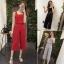 Set_bt1278 ชุด 2 ชิ้น(เสื้อ+กางเกง)แยกชิ้น เสื้อครอปสายใหญ่+กางเกงขายาวห้าส่วนกระเป๋าหน้า ผ้าเนื้อดีสีพื้น **เหลือสีแดงสีเดียว
