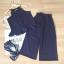 Set_bt1495 ชุดเซ็ท 2 ชิ้น(เสื้อ+กางเกง)แยกชิ้น เสื้อสายเดี่ยวไหล่ล้ำชายระบาย+กางเกงขายาวห้าส่วนเอวสม็อคยางยืด ผ้าโฟร์เวย์สีพื้นเนื้อนุ่มใส่สบายผ้าเนื้อดีไม่บาง งานสวยน่ารักสไตล์เก๋ๆ ชิคๆ เซ็ทสองชิ้นสวยคุ้ม ใส่เก๋ๆ ได้บ่อยจ้า (สีกรม) thumbnail 1
