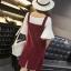 Dress4056 ชุดเอี๊ยมกระโปรงผ้ายีนส์ลูกฟูกเนื้อดีทรงสวย สายปรับความยาวได้ มีกระเป๋าหน้าและข้าง ผ่าชายกระโปรงด้านหลังเล็กน้อยเพื่อความคล่องตัว งานน่ารักผ้าเนื้อดีใส่สบาย แมทช์กับเสื้อได้หลายแบบ (ไม่รวมเสื้อตัวใน) มี 4 สี ดำ, เลือดหมู, ชมพู, thumbnail 13