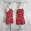 Set_bp776 ชุดเซ็ท 2 ชิ้น(เสื้อ+กางเกง) เสื้อสายเดี่ยวไหล่ล้ำ+กางเกงขาสั้นเอวยืด ผ้าไหมอิตาลีลายหน้าหมี+ลายตารางพื้นสีแดงเข้ม thumbnail 1