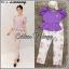 """ชุด Set เสื้อ+ กางเกง เสื้อใส่เปิดไหล่รึปิดไหล่ก้อได้ แขนตุ๊กตาน่ารัก จับคู่กับกางเกงขายาวผ้าทอลายดอก S เสื้อ อก46 กางเกง /เอว33-38 โพก48 ยาว37"""" thumbnail 1"""