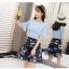**สินค้าหมด Set_bs1337 ชุด 2 ชิ้น(เสื้อ+กระโปรง)แยกชิ้น เสื้อแขนระบายสีฟ้า+กระโปรงเอวยางยืดผ้าไหมแก้ว Organza ลายดอกไม้โทนสีกรม thumbnail 7