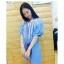 Dress3866 งานนำเข้าสไตล์เกาหลี Big Size เดรสสั้น/เสื้อตัวยาวไซส์ใหญ่ ช่วงอกแต่งดอกไม้ผ้าและเชือกเก๋ๆ ผ้าลินินเนื้อดีสีฟ้า งานดีผ้าสวยใส่เก๋ๆ แบบไม่ซ้ำใคร thumbnail 1