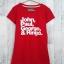 blouse3383 เสื้อยืดแฟชั่น สกรีนลายตัวอักษร ผ้าคอตตอนยืดเนื้อนิ่มสีพื้นแดง thumbnail 1