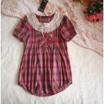 (SIZE M) เสื้อลายสก๊อตสีชมพูปกลูกไม้