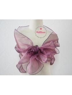 ผ้าคลุมไหล่ผ้าแก้ว โปร่งใส สีม่วงเปลือกมังคุดใสๆเนื้อนิ่มพริ้วหรู