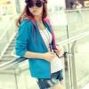 พร้อมส่ง - blue เสื้อคลุมแฟชั่นเกาหลี ลุคSport girl สุดน่ารัก มีฮูด