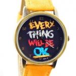 นาฬิกาข้อมือ สไตล์ วัยรุ่น ผู้หญิง ผู้ชาย ใส่ได้ หน้าปัดข้อความให้กำลังใจ everything will be ok ของขวัญยอดนิยม สีเหลือง no 526000_7