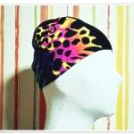 หมวกว่ายน้ำ แฟชั่น สีดำ แต่งลายเพ้นท์ สะท้อนแสง เหลือง ชมพู no sc011