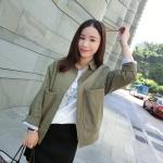 เสื้อคลุมสไตล์เกาหลี สีเขียวทหาร ทรงสวย ผ้าป่านบุซับในเนื้อนุ่ม ใส่คลุมกำลังดี เท่ๆ พร้อมส่งเลยจ้า