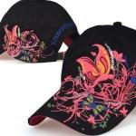 หมวก cap หมวกมีปีก หมวกเบสบอล ปักลาย ผีเสื้อ สีดำ สวยมากค่ะ no 323631