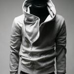 เสื้อกันหนาวผู้ชาย เสื้อคลุมผู้ชายแขนยาว ผ้า cotton อย่างหนา ใส่สบาย ดีไซน์คอตั้ง แบบเท่ สีเทา ราคาถูก 78737_1