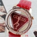 นาฬิกาข้อมือ ผู้หญิง สายหนัง หน้าปัด Guess ประดับเพชร สีแดง