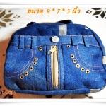Used กระเป๋าถือ กระเป๋ายีนส์ สีน้ำเงินเข้ม เก๋ ๆ B203