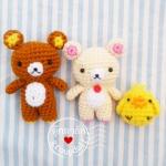 ตุ๊กตาถักหมีคุมะ และเพื่อน 3 นิ้ว