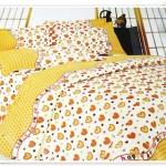 5 ฟุต 3 ชิ้น ชุดเครื่องนอน ผ้าปูที่นอน ลายหัวใจสีเหลือง b011