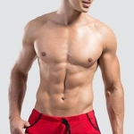 กางเกงว่ายน้ำผู้ชาย แบบ Boxers ขาสั้น สีแดง สินค้าคุณภาพส่งออก size L