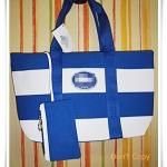 กระเป๋าถือ กระเป๋าสะพาย Lc สีน้ำเงินสลับขาว