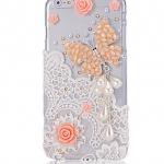เคส iPhone 6 4.7 นิ้ว เคส Diy 3 มิติ เคสใส ติดคริสตัล ผีเสื้อ โทนสีส้ม ดอกกุหลาบ สีส้ม แต่งลูกไม้ สีขาว และ ห้อย ไข่มุก หยดน้ำ 454079_2