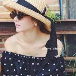 Off Shoulder with Sweet Polka Dot embroider เสื้อเปิดไหล่