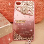 Case iPhone 5s ไอโฟน 4s เคสติดเพชร Crystal Swarovski รุ่น Vivienne Westwood (Pink)