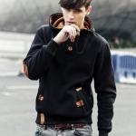 เสื้อกันหนาว เสื้อ ฮู้ด เสื้อแขนยาวผู้ชาย แบบสวม เสื้อแขนยาว สีดำ ใส่ในห้องแอร์ แบบมีดีไซน์ เสื้อกันหนาวแฟชั่น สไตล์ อเมริกัน 915346