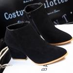 รองเท้าบูทผู้หญิง รองเท้ามาร์ตินบูท ส้นสูงเล็กน้อย รองเท้าหนังกำมะหยี่ รองเท้าหุ้มข้อ สูงนิดหน่อย สีดำ คลาสสิค มีซิปรูด ด้านข้าง 452451_1