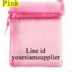 ถุงผ้าไหมแก้วชมพู ขนาด 17 คูณ 23 cm 100 ใบ