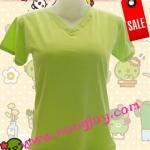เสื้อเปล่าสีเขียว คอวี Size S