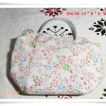 Used กระเป๋าถือ สีชมพูหวาน หูจับไข่มุก B302