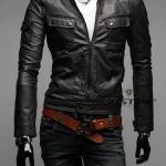 เสื้อ แจ็คเก็ตหนัง แบบ สลิม ฟิต Jacket ผู้ชาย แบบพอดีตัว มีกระเป๋าเสื้อ เสื้อคลุมแขนยาวผู้ชาย เสื้อคลุมหนัง สีดำ 99261_1