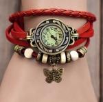 นาฬิกาข้อมือผู้หญิง นาฬิกา สายหนังถัก สไตล์วินเทจ สีแดงสด ห้อยจี้รูปผีเสื้อ ของขวัญ น่ารัก ๆ ให้แฟน no 7808